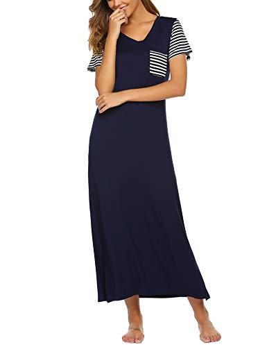 Yaseking Womens Sleepwear Cute Cartoon Printed Comfy Sleep Shirts Short Sleeve Scoop Neck Nightgown Sleep Dress