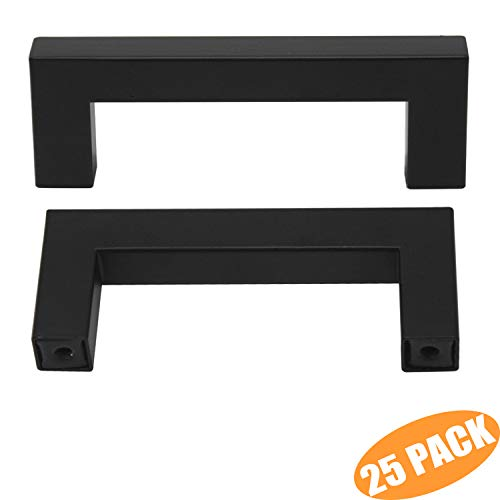 "Probrico Flat Black Cabinet Handles Modern Square T Bar Cabinet Hardware Cupboard Wardrobe Pulls Kitchen Cabinet Dresser Knobs Set 76mm(3"") Hole Centers 25 Pack"