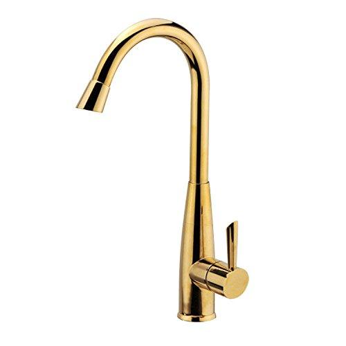 AQiMM Waschtischarmatur Wasserhahn Messing Titan Gold Kaltes Und Heißes Wasser  Mischbatterie Waschbeckenarmatur Für Badezimmer Waschbecken