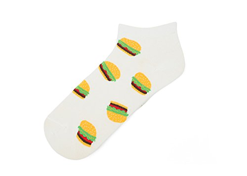 Price comparison product image Ankle Boy Girl White Cotton Fun Funny Novelty Youth Funky Cute Hamburger Socks