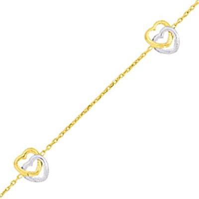 So Chic Bijoux © Bracelet Femme Chaîne Longueur Réglable 16 à 18 cm Double Coeur Ajouré Entrelacé Or Jaune & Blanc 750/000 (18 carats)