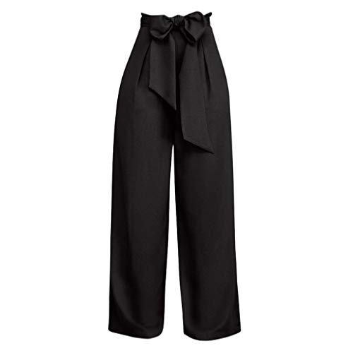 ONLY TOP Women's Pants Trouser Slim Casual Cropped Paper Bag Waist Pants with Pockets Black