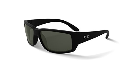 - REKS Polarized Unbreakable WRAP AROUND Sunglasses, Black Frame, Smoke Lens