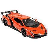 Super Car Orange Lamborghini Veneno Battery Operated Remote Control Car –Kids Favorite Toy -1/14 Scale RC