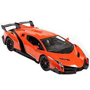 Super Car Orange Lamborghini Veneno Battery Operated Remote Control Car Kids Favorite Toy -1/14 Scale RC