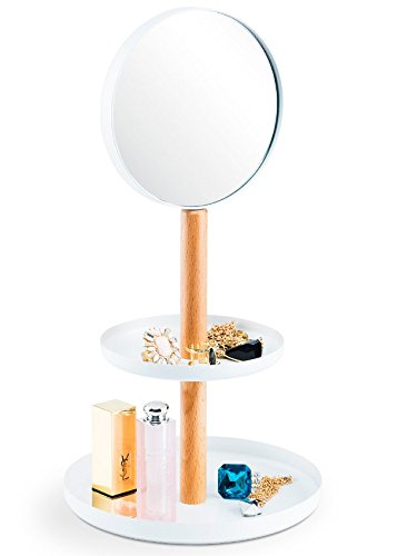RooLee Tiered Decorative Vanity Tray with Makeup Mirror, Jewelry & Accessory Organizer Holder, Hand-held Mirror with 1x/3x Magnification Tier Mirror Display