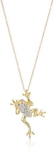 14k Yellow Gold Frog with Diamond-Accent Pendant Necklace, 18""