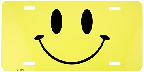 (Happy Yellow Smiley Face Metal Novelty License Plate Wall Sign Tag)