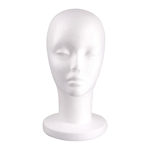 ZHUOTOP 1pc Female Styrofoam Mannequin Manikin Head Model Foam Wig Hair Hat Glasses Display
