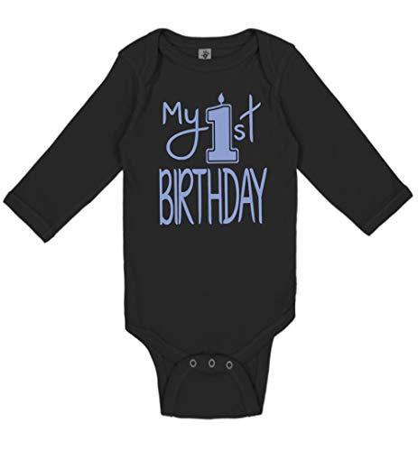 Reaxion Aiden's Corner Handmade Baby Clothes - Baby Boy My First Birthday Bodysuits & Shirts (12 Months, Candle Lt Blue Black LS) -