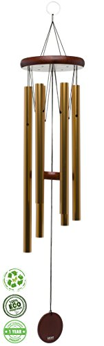 Brooklyn Basix Freedom Chime for Patio, Garden, Terrace and Balcony - Beautiful Outdoor Decor - Easy to Install Wind Chimes - Durable and Hand Tuned (Cherry/Gold, Large 40