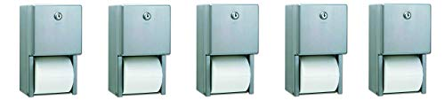 Bobrick B-2888 Classic Series Surface-Mounted Multi-Roll Toilet Tissue Dispenser, Satin (5-(Pack))