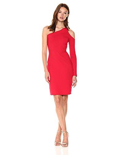 Susana Monaco Women's Dina One-Sleeved Open Shoulder Dress, Perfect Red, S