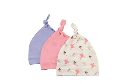 mboo Rayon Baby Beanie Hats - Super Soft Knotted Caps Available in Pattern and Solid Colors - 3 Pack (3-6 Months, Petal/Mythical/Lilac) ()