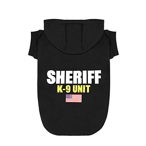 Scheppend Dog Hoodies Sweatshirt Pet Clothes for Small Medium Large Dogs Cats Cotton Puppy Costumes with Sheriff K-9 Unit Patterns Printed, Extra Small]()