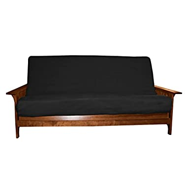 Epic Furnishings Better Fit Machine Washable Upholstery Grade Futon Cover, Full-size 6 to 8-inch loft, Suede Ebony Black