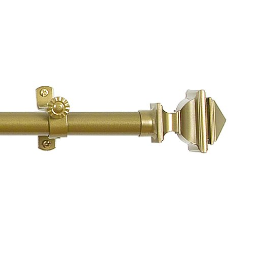 Achim Home Furnishings Buono II Bach Curtain Rod with Finials, 48-Inch Extends to 86-Inch, Gold - Gold Finial