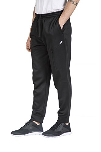 - Avia Men's Poly-Fleece Zip Pocket Jogger Pant, Black, L