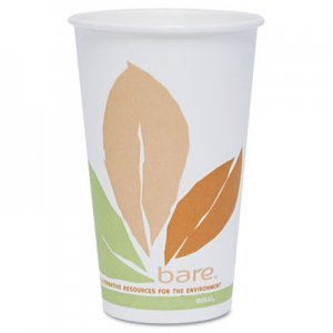 Bare by Solo Eco-Forward PLA Paper Hot Cups, Leaf Design, 16 oz, 1000/Carton by SOLO