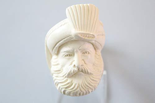 White Turkish Meerschaum Smooth Mini Smoking Pipe Handcrafted, Unique Design by Handmade Studio ()