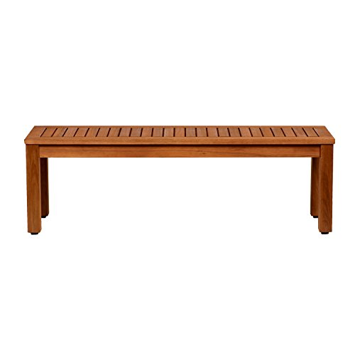 Amazonia Aster Backless Patio Bench | Eucalyptus Wood | Ideal for Outdoors...