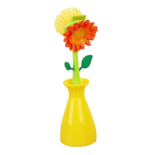 Sunflower Kitchen Brush Cleaning Tool Multi-funtion Dish Washing Brush Kitchen Bathroom Gadgets Tool (YELLOW)