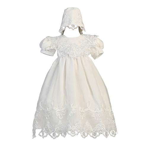 Lito Baby Girls White Embroidered Organza Gown Bonnet Christening Set 9-12M