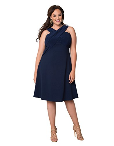Kiyonna Women's Plus Size Marina Love Dress 4X Dark Indigo