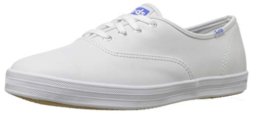 Keds Women's Champion Original Leather Lace-Up Sneaker, White Leather, 5 XW - Leather Textured White