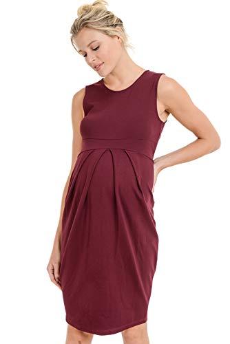 LaClef Women's Knee Length Midi Maternity Dress with Front Pleat (Medium, Burgundy)