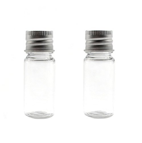 12Pcs 10ml/20ml Empty Refillable Clear Plastic Bottle with Aluminum Screw Cap Travel Small Container (10 ML)