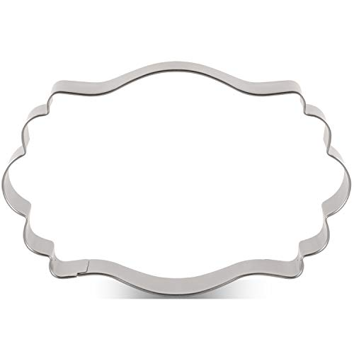 LILIAO Plaque Cookie Cutter Long Fancy Frame Biscuit Cutter for Wedding - 4.5 x 3 inches - Stainless Steel
