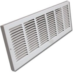 """Shoemaker 1150-30X6 30""""x6"""" Stamped Face Baseboard Return Air Grille - White"""