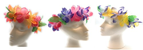 Mahalo Floral Leis Headband 12 PC Set ()