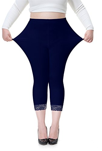 Vangee Women's Plus Size Lace Trim Soft Modal Cotton Leggings Workout Tights Pants Cropped Length (2X, Navy)