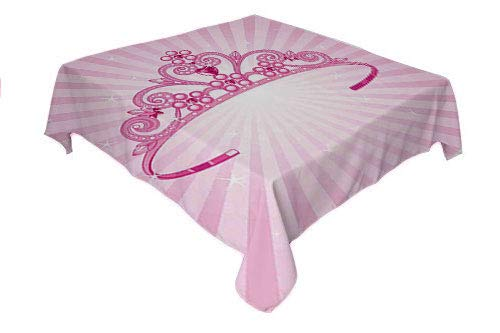Nursery Kitchen Table Cover Beautiful Shining Pink Fairy Princess Costume Crown Diamond Figures Girls Fuchsia Pink Printed Tablecloth Square Tablecloth 60 by 60 inch]()