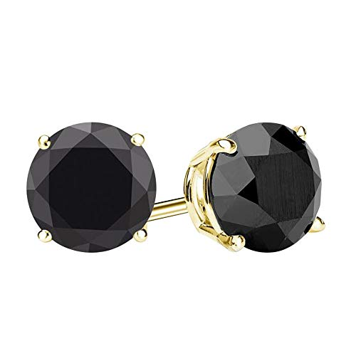 Voss+Agin 14K Gold Black Onyx Stud Earrings, 2ctw (6mm) (Yellow-Gold)