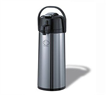Service Ideas ECAL19S Eco-Air Lever Lid Airpot, Glass Vacuum, 1.9 Liter (64.2 oz.), Brushed Stainless/Black