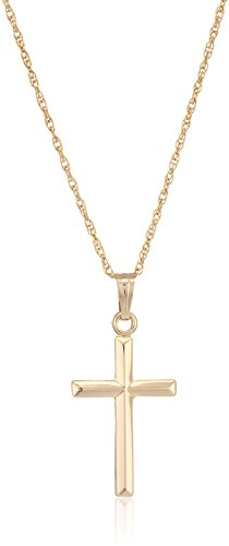 Collection Cross Necklace - Ladies' 14k Gold Filled Polished Embossed Cross Pendant Necklace, 18