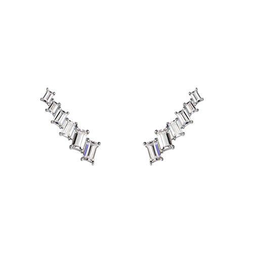 Carleen 925 Sterling Silver CZ Cubic Zirconia Cuff Earrings Ear Crawler Climber Jackets For Women Girls -