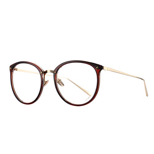 AZORB Womens Vitage Round Eyeglasses Non-Prescription Glasses Frame ()