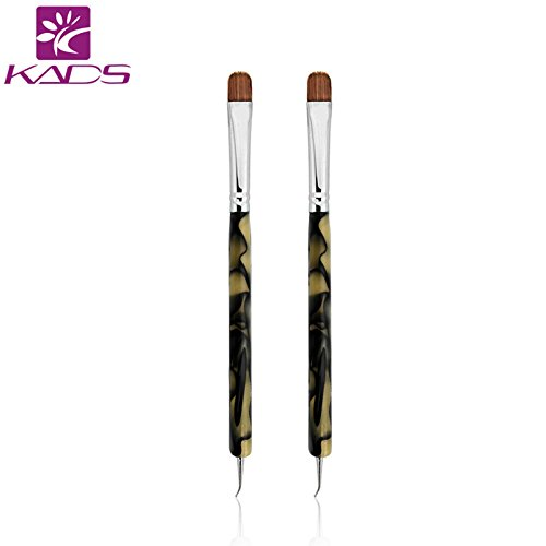 KADS 2pcs/set Kolinsky Sable Brush 2 Way Acrylic Professional French Manicure Clean-up Brush Nail Art Brush Bend Nail Dotting Pen
