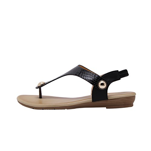 Sandali In Metallo Per Donna Infradito Sandali Flat Dress Perizoma Da Spiaggia Gladiatore N. 803 Nero