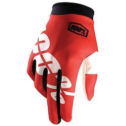 100% ITRACK Adult Leather/Textile Off-Road Motorcycle Gloves - Fire Red / X-Large