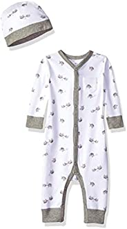 Moon and Back Unisex-Baby Organic Snap-Front One-Piece Coverall with Cap Set