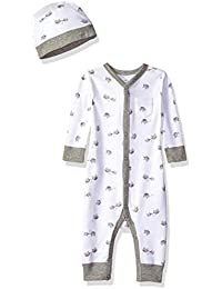 Baby Organic Snap-Front One-Piece Coverall with Cap Set