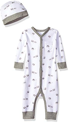 Moon and Back Baby Organic Snap-Front One-Piece Coverall with Cap Set, Grey Elephant 0-3 -
