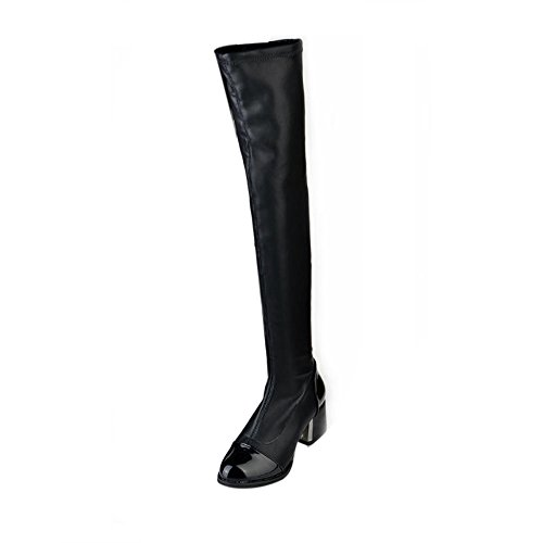 Dimensions Handball Team (LandFox Womens Boots, New Over Knee Boots,Fashion Leather Women Toe Elastic Stretch Thick Heel Boots Black)