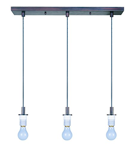 ET2 ES92003-BZ Carte 3-Light Pendant Frame Pendant System, Bronze Finish, Glass, MB Incandescent Bulb, 5W Max., Wet Safety Rated, 3000K Color Temp., Shade Material, 1050 Rated Lumens