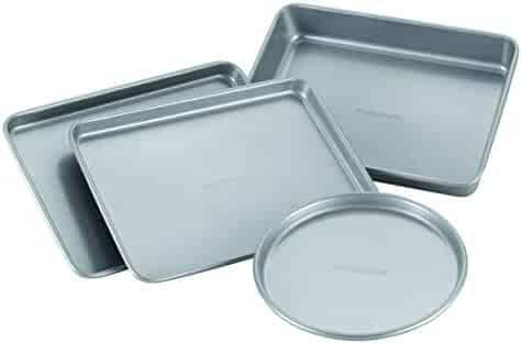 Farberware 57775 Nonstick Bakeware Toaster Oven Set with Nonstick Baking Pans, Cookie Sheets and Baking Sheets - 4 Piece, Gray